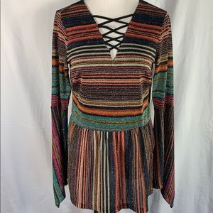 Boston Proper Boho Metallic Blouse NWT